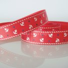 1 Yard of Anchor Grosgrain Ribbon, Red, Sailor, Navy, Patriotic, R169