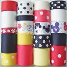 "20 Yards ""Mr. & Ms. Mouse"" Ribbon Set- Mickey, Minnie, Headbands, Scrapbook, Hair Bows, S18"