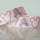 1 Yard of Mickey Minnie Mouse Grosgrain Ribbon, 7/8&quot; (22mm), Pink, R190