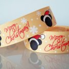 "1 Yard of Mickey Mouse Grosgrain Ribbon, 7/8"" (22mm), Merry Christmas, Red, Yellow, Santa Hat, R188"