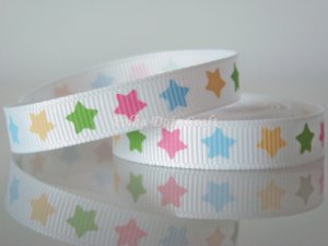 "1 Yard of Star Grosgrain Ribbon, 3/8"" (9mm) White Ribbon w/ Pink, Blue, Green, & Yellow Stars, R108"
