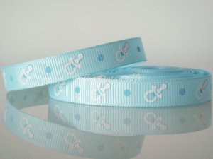 "1 Yard of 3/8"" Baby Pacifiers Ribbon, Baby Shower Baptism, It's A Boy, Photo Album, Blue, R196"