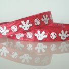 "1 Yard of 3/8"" Mickey Mouse Baseball & Mitten Grosgrain Ribbon, R187"