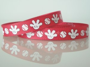 1 Yard of 3/8&quot; Mickey Mouse Baseball &amp; Mitten Grosgrain Ribbon, R187