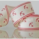 "1 Yard of 1"" Anchor Grosgrain Ribbon, Red, Sailor, Navy, Patriotic, R54"