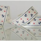 "1 Yard of 5/8"" Anchor Grosgrain Ribbons, Patriotic, Navy, Red, White, Blue, Wholesale, R56"