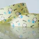 "1 Yard of 7/8"" Baby Grosgrain Ribbon, Light Yellow Ribbon w/ Baby Bottles, Baby Shower, Baptism, R67"