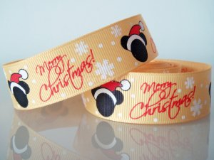 "1 Yard of 7/8"" Mickey Mouse Ribbon, Merry Christmas, Yellow, Santa Hat, Scrapbooks, Hair Bows, R188"