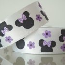 "1 Yard of 7/8"" Minnie Mouse Satin Ribbon, Flower, Lavender, Headbands, Hair Bows, Scrapbooks, R191"