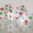 "1 Yard of 1"" Green Red Apple Grosgrain Ribbon, Party, Gift Wrap, Fruits, Scrapbook, Hair Bows, R78"