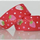 "1 Yard of 1"" Strawberry Grosgrain Ribbon, Pink, Red, Fruit, Strawberries, Hair Bows, Scrapbook, R76"
