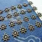 24 pcs Antique Helm Charms, Vintage Bronze Pendant Bracelet Sailor Navy Wheel, O36