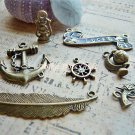 8 Antique Charms -Vintage Gun Anchor Lucky Globe Lamp Sailor Navy Wheel Pendant, O-S1