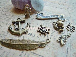 8 Antique Charms -Vintage Gun Anchor Lucky Globe Lamp Sailor Navy Wheel Pendant, O-S1