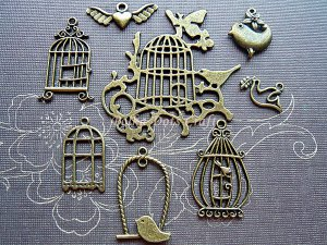 8 pcs Antique Charms Vintage Bronze Birds Cages Angel Heart Peace Dove Pendant Dangles, BC-S1