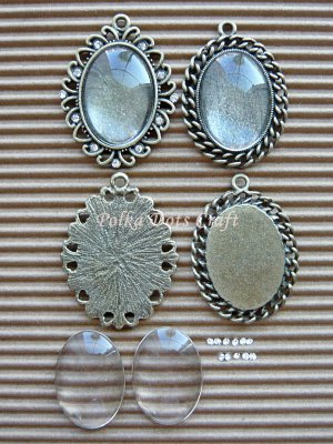 4 pcs Antique Oval Cabochons Settings Charms Rhinestones Vintage Dangles Cameos, B-S2