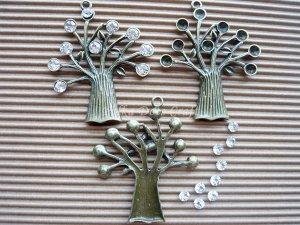 3 Antique Tree Charms w/ Rhinestones Kits Vintage Dangles Bronze Pendant Jewelry Decor, O21