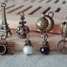 8 pcs Antique Charms Vintage Necklace Pendants Eiffel Tower Globe Crown Peace Camera, O-S2