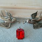 3 Sets of Swallow & Gems Kit Antique Vintage Charms Crystals Pendants Bird Necklace, O-S4