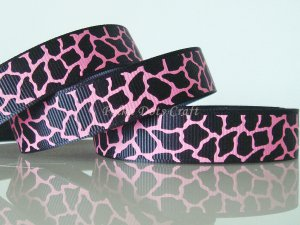 "1 Yard 5/8"" Black & Hot Pink Giraffe Grosgrain Ribbon, Zoo, Jungle, Wild Animal, Gift, R62"