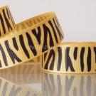 "1 Yard 5/8"" (16mm) Zebra Ribbon, Black & Yellow Gold, Wild Animal, Zoo, Party, Jungle, R65"