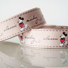 "1 Yard of 5/8"" Disney Mickey Mouse Grosgrain Ribbon, Tan, Hair Bows, Headbands, Scrapbooks, R244"