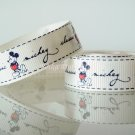 1 Yard of 5/8&quot; Disney Mickey Mouse Grosgrain Ribbon, Beige, Hair Bows, Headbands, Scrapbooks, R245