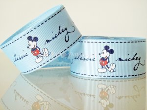 "1 Yard of 1"" Disney Mickey Mouse Grosgrain Ribbon, Blue, Hair Bows, Headbands, Scrapbooks, R246"