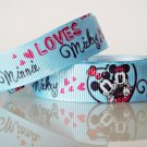 "1 Yard of 5/8"" Disney Mickey & Minnie Mouse Grosgrain Ribbon, Blue, Hair Bows, Scrapbooks, R247"