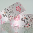 1 Yard of 1&quot; Disney Minnie Mouse Satin Ribbon, Pink, Hair Bows, Scrapbooks, R248