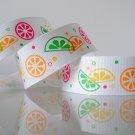 "1 Yard of 1"" (25mm) Citrus Slices Ribbon, Fruits, Orange, Lime, Tangerine, Lemon, R79"