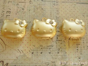 3 pcs of Hello Kitty Photo Locket Charms Rhinestones, Necklace, Pendants Gifts, PL2