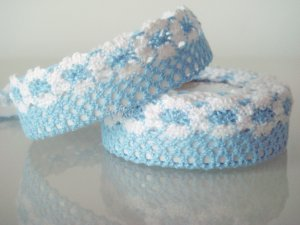 1 Roll of Blue Lace Ribbon Tape Scrapbook Craft Home Decoration Fabric Trim, R163