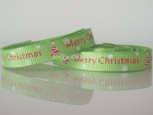 "1 Yard of 3/8"" Merry Christmas Ribbon, Green, Holidays, Hair Bows, Scrapbooks, R69"