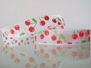 "1 Yard of 5/8"" Cherry Ribbon, Clear Organza, Red Green, Fruit Love, Sweets Scrapbook, Headbands, R75"