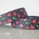 "1 Yard of 5/8"" Red Cherry Grosgrain Ribbon, Fruit, Black, Scrapbook, Hair Bows, Head Bands, R77"