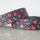"1 Yard of 5/8"" Red Cherry Grosgrain Ribbon, Fruit, Black, Scrapbook, Hair Bows, Head Bands, R77"