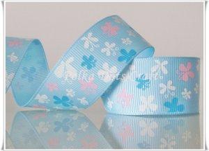"1 Yard of 1"" Butterfly Ribbon, Blue, Garden, Flower, Scrapbooks, Hair Bows, R81"
