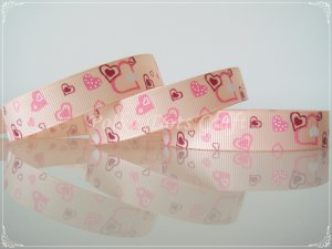 """1 Yard of 1"""" Heart Grosgrain Ribbons, Love, Valentine's, Mother's Day, Peach, Hair Bows, R101"""