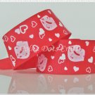 1 Yard of 1&quot; &quot;Kisses - Red&quot; Grosgrain Ribbon, Lips, Heart, Love, Valentine&#39;s, R93