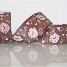 "1 Yard of 1"" Brown Kisses Grosgrain Ribbon, Lips, Wedding Gift Wrap Mother's Day, Heart, R95"
