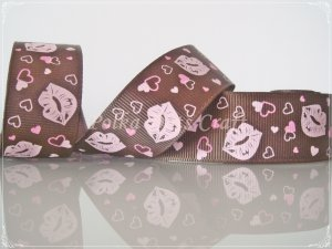 """1 Yard of 1"""" Brown Kisses Grosgrain Ribbon, Lips, Wedding Gift Wrap Mother's Day, Heart, R95"""