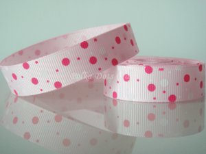 "1 Yard of 5/8"" Pink & White Polka Dots Grosgrain Ribbon, Baby, Girl, Gift Wrap Photo Decor,  R30"