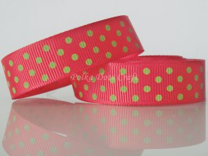 "1 Yard of 5/8"" Red & Green Polka Dots Grosgrain Ribbon, Christmas, Gift Wrap Photo Decor,  R23"