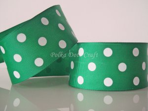 "1 Yard of 1-1/2"" Green Polka Dots Grosgrain Ribbon, St. Patrick's Day Christmas, Photo Decor, R52"