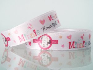 "1 Yard of 5/8"" Disney Minnie Mouse & Flowers Satin Ribbon, Pink, Hair Bows, Scrapbooks, R250"