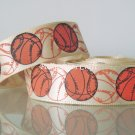 "1 Yard of 5/8"" Basketball Ribbon, Sports, Craft, Hair Bows, Cheerleaders, Gift Wrap, R267"