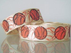 """1 Yard of 5/8"""" Basketball Ribbon, Sports, Craft, Hair Bows, Cheerleaders, Gift Wrap, R267"""