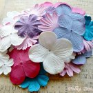 100 pcs of Paper Flowers Petals, Embellishments, Scrapbooks, White, Rose Pink, & Purple Colors, F3