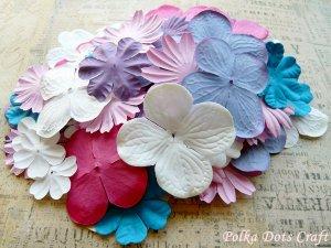 100 pcs of Paper Flowers Petals, Embellishments, Scrapbooks, White, Rose Pink, & Purple Colors, F3